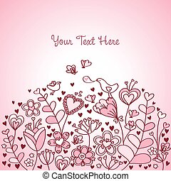 Heart Floral Background Red Pink - Floral background with...