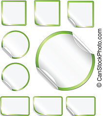 Peeling Stickers Green Border - Blank, realistic vector...
