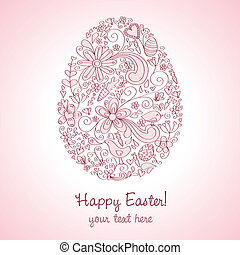 Easter Egg Pink - Egg shape hand-drawn greeting card design...