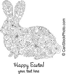 Easter Rabbit - Rabbit shape hand-drawn greeting card design...