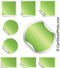 Green Peeling Stickers White Border - Blank, realistic...