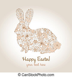Easter Rabbit Brown - Rabbit shape hand-drawn greeting card...