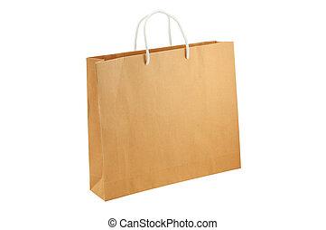 道, 切り抜き, 買い物, 隔離された, 袋, 背景, included., 白, 空