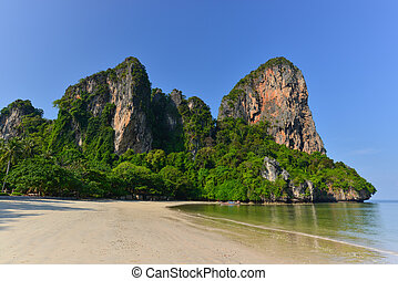 Rairay beach, Krabi Thailand - Holidaymakers relaxing on the...