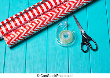 Christmas Gift Wrapping Party Time with Colorful Paper,...