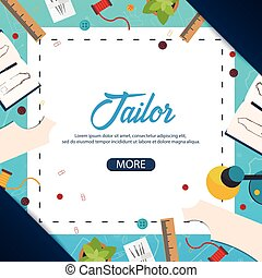 Tailor and seamstress banner. Sewing kit. Needlework,...