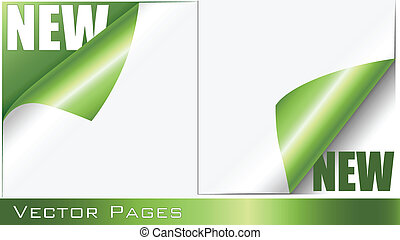 Green Curling Pages - Set of curling vector pages with New...