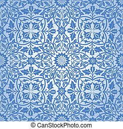 Intertwining Floral Pattern Blue - Ornate floral seamless...