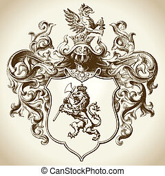 Aufwendig, ritterwappen, emblem