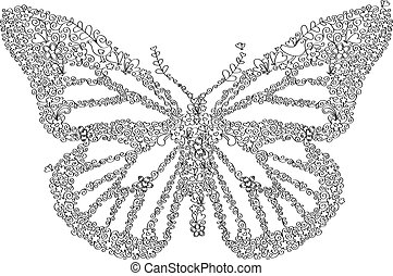 Doodle Butterfly - Hand-drawn doodle butterfly vector with...