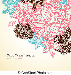 Floral Background Corner Blue Pink - Hand-drawn floral...