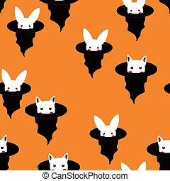 Halloween Background - White Rabbit and Cat in Witch Hat. Vector Illustration