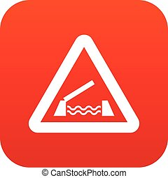 Lifting bridge warning sign icon digital red for any design...
