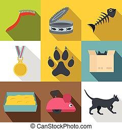 Cat house icon set, flat style