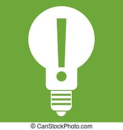 Bulb with exclamation mark inside icon green - Light bulb...