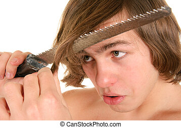 Teenager cuts off saw hair on white background