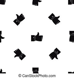 Thumb up gesture pattern seamless black - Thumb up gesture...
