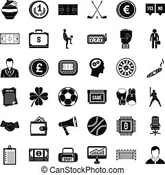Fortune icons set, simple style - Fortune icons set. Simple...