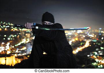 ninja assasin hold katana samurai old martial weapon swordat...