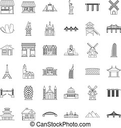 Tourist attraction icons set, outline style - Tourist...