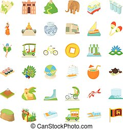 Tourist attraction icons set, cartoon style - Tourist...