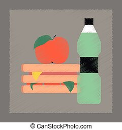 flat shading style icon sandwich apple water