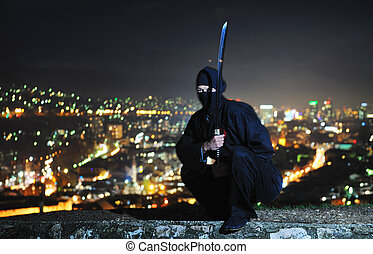 ninja assasin hold katana samurai old martial weapon swordat...