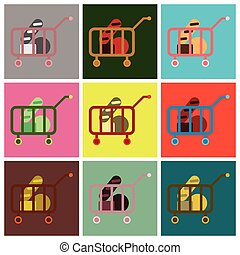 Vector illustration of flat icons set shop cart with food
