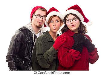 Three Friends Wearing Warm Holiday Attire