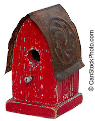 Old red birdhouse - Old red antique aged birdhouse with...