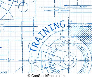 Training Graph Paper Machine - Training text with gear...