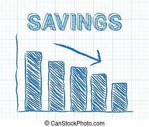 Savings Down Graph Paper - Decreasing graph and savings word...