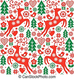 Christmas folk red and green seamless vector pattern,...