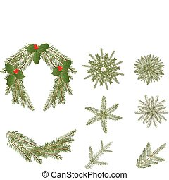 Christmas wreath, ornaments and branches
