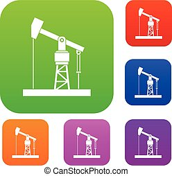 Oil pump set collection - Oil pump set icon in different...