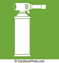 Gas cylinder icon green - Gas cylinder icon white isolated...