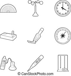 Electronic measuring device icons set. Outline set of 9...