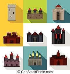 Towers and castles icon set, flat style - Towers and castles...