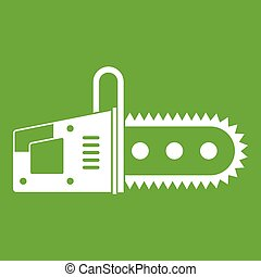 Chainsaw icon green - Chainsaw icon white isolated on green...