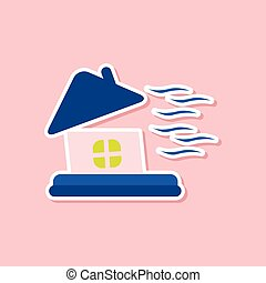 paper sticker on stylish background of storm the house -...