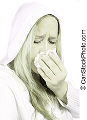 Woman with sniffles or sneezing