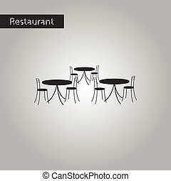 black and white style icon tables and chairs