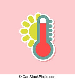 paper sticker on stylish background of thermometer hot...