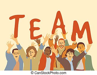 Happy team group people. Color vector illustration. EPS8