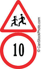 speed limit - school and speed 10 limit sign