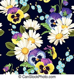 Seamless pansies and camomiles - Colorful pansies and...
