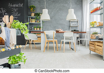 Industrial dining room with table - Industrial dining room...