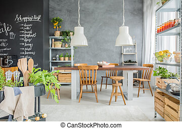 Family home with big table - Family home with chalkboard...