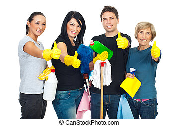 Successful cleaning people teamwork giving thumbs up and...