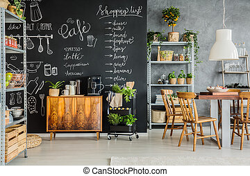 Room design in industrial style - Chalkboard dining room...